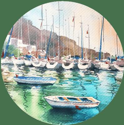 Яхты, акварель